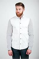 Оригинальная мужская рубашка с полосатыми рукавами белая, черная