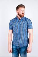 Великолепная мужская рубашка приталенного кроя в необычную клетку синяя