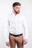 Стильная мужская рубашка классического кроя белая, голубая, коричневая, темно-синяя, черная