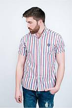 Потрясающая мужская рубашка в вертикальную полоску красно-белая, сине-белая, серо-белая