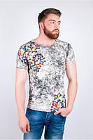 Модная мужская футболка с принтом бежевая, бирюзовая, желтая, серая