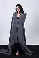 Красивый вязанный теплый плед 3036 серый