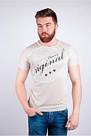 Модная мужская футболка отличного качества с принтом впереди бежевая, бордо, голубая, желтая, коралловая, коричневая, серая, синяя, светло-серая,