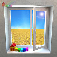 Двустворчатое окно на 1 поворотно - откидную створку (2000000079011)