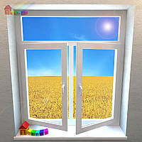 Окно двустворчатое с фрамугой Rehau Basic - Design (2000000079028)