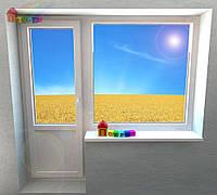 Балконный блок. Окно глухое, дверь поворотно-откидная (2000000079066)