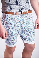 Молодежные мужские шорты с цветочным принтом белые, петроль, синие