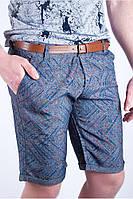 Модные мужские шорты с необычным принтом серый, хаки