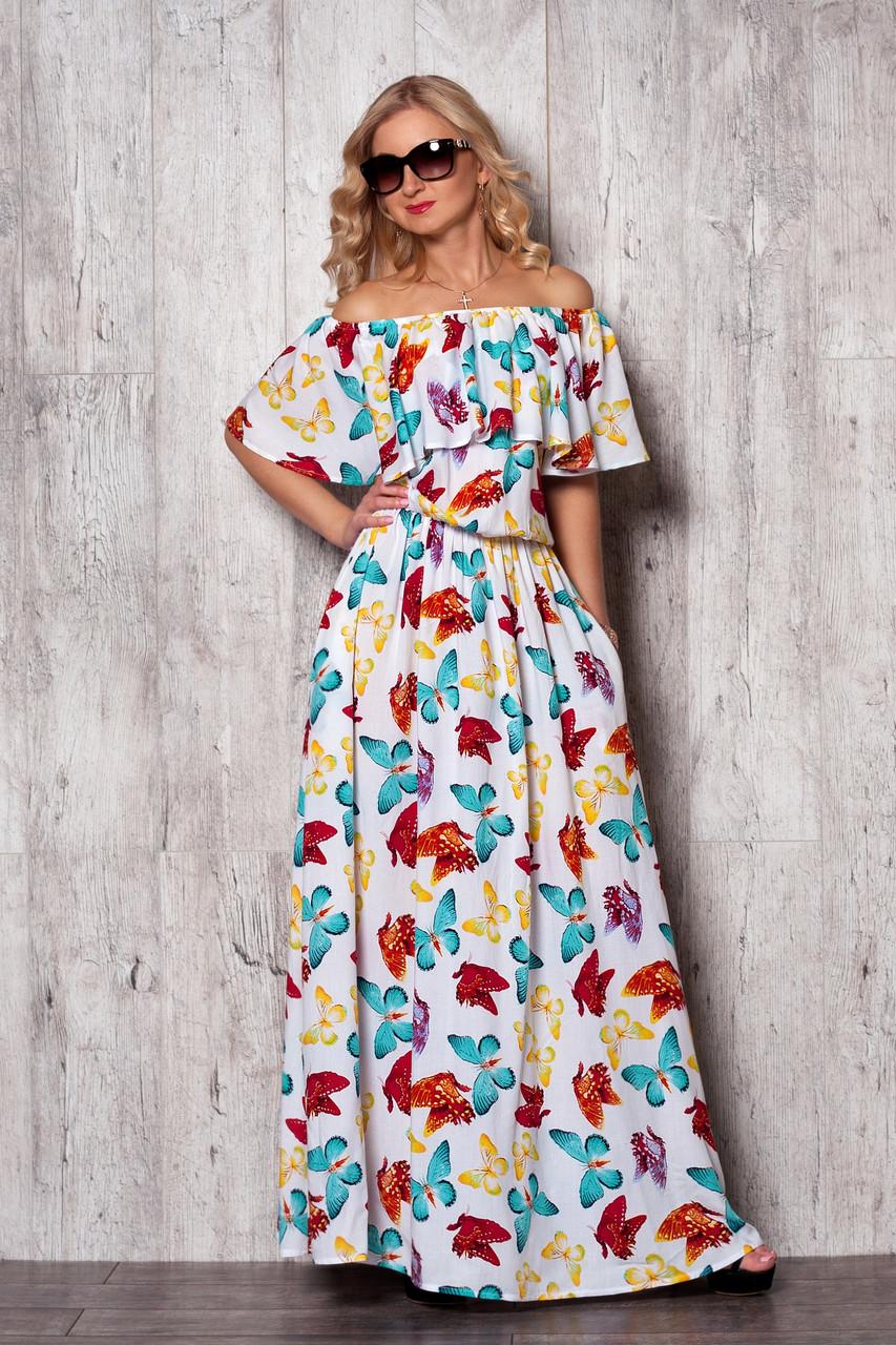 Длинное платье в бабочки