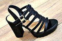 Стильные черные босоножки на устойчивом каблуке Польша в наличии все размеры