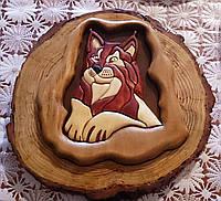 Картина Рысь Мозаика из дерева Стиль Интарсия натуральное дерево handmade