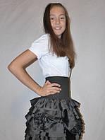 """Школьная юбка, юбка для девочек """"Розочка"""" черный, р-ры 30-40"""