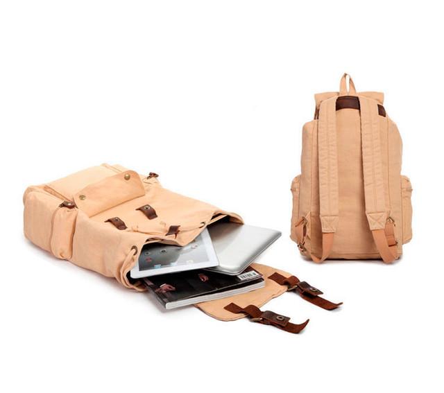 Городской рюкзак | бежевый. Внутреннее устройство и вид сзади