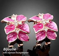 Серьги PINK FLOWER ювелирная бижутерия золото 18К декор Swarovski