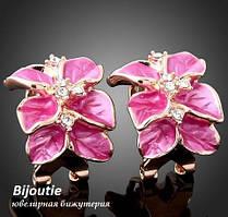 Сережки PINK FLOWER ювелірна біжутерія золото 18К декор Swarovski