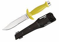 Подводный нож для дайвинга SS52, 27,5см, лезвие 2,5мм, сталь 440С, желтая пластиковая рукоять, чехол