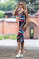 Женское летнее облегающее платье ниже колен тёмно синее