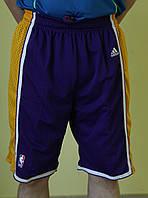 Мужские шорты баскетбольные Adidas (5442) фиолетовым с желтым код 01-27