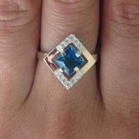 """Серебряное кольцо с золотом """"257"""", фото 1"""