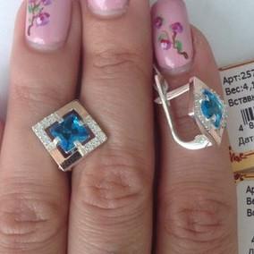 """Серебряные серьги с камнями """"257"""""""