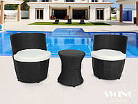 Садові комплекти з штучного ротанга: столик + 2 крісла + подушки, фото 1