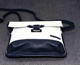 Лаконичная женская сумочка из натуральной кожи VATTO Wk29 Fl6.2, белый+синий, фото 2