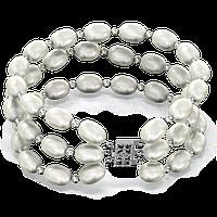 Тройной браслет из белого жемчуга БЛЕСК И ЭЛЕГАНТНОСТЬ