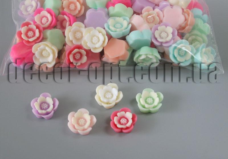 Цветы акриловые двухцветные 15 мм/100 шт