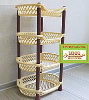 Пластиковая этажерка LUX на 4 яруса, кофейно-коричневая