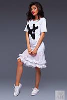 Платье  Оригинальное с шифоном и рюшами цвет белый