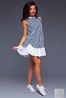 Платье  Молодёжное джинсовый колокольчик в полоску