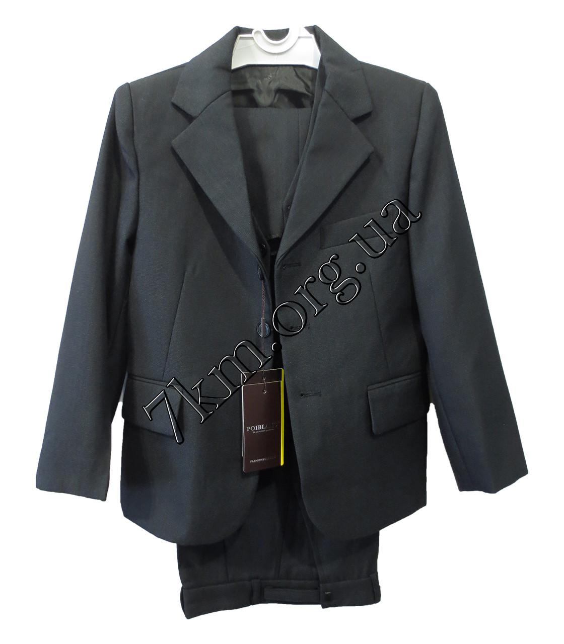 """Школьный костюм форма 3-ка для мальчиков """"Poiblanc"""" 50-64 р.р Черный клетка"""