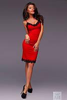 Платье  Стильное из шёлка с контрастным французским кружевом на бретелях цвет красный