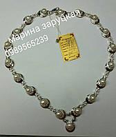 Серебряное колье с золотом и жемчюгом