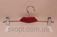Плечики - вешалка с деревянной вставкой красная с прищепками
