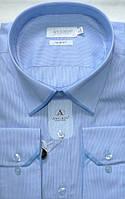 Голубая приталенная сорочка в полоску