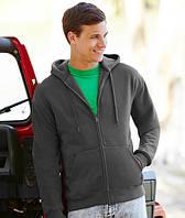 Толстовка мужская с капюшоном Premium Hooded Sweat Jacket, S (42-44), Чёрный