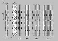 LL0844 (4х4), шаг=12.7мм. Т-12.7 (4х4) цепь грузовая пластинчатая