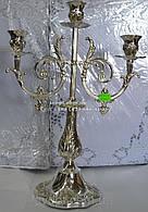 Подсвечник на 3 свечи мельхиор 41см x 31см