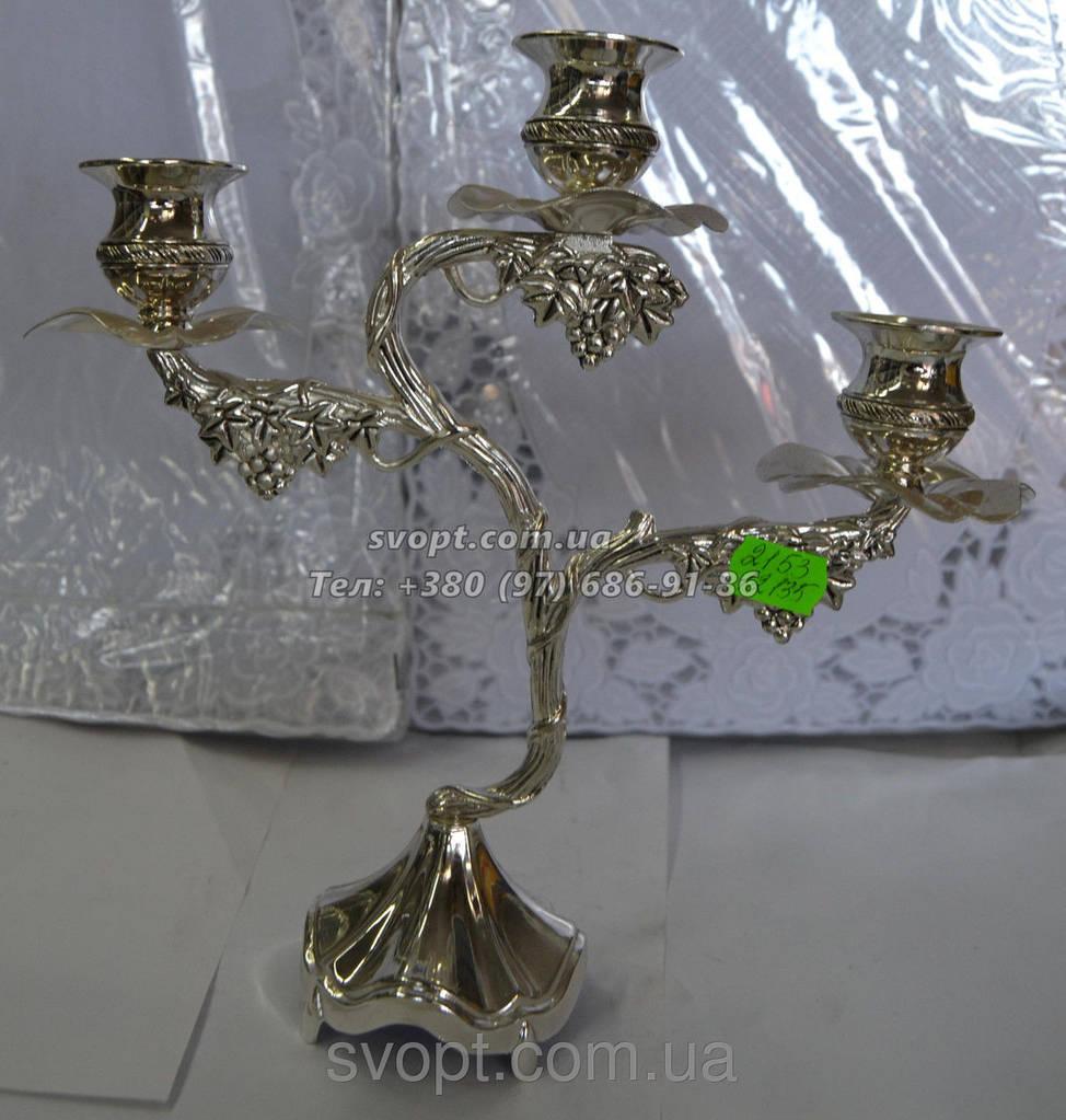 Подсвечник на 3 свечи мельхиор 24см x 26см