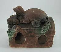 Кераміка для акваріума Скриня з черепахою кольоровий, 15х13 див., фото 1