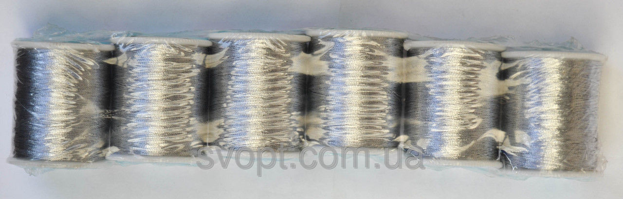 Нитки люрикс серебро