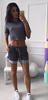 Молодежный летний женский костюм со свободными шортами и коротким топом кулирка петля