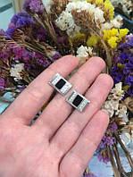 Серебряные запонки с эмалью и фианитами 34314