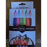 Свечи в торт на ножке с цветным пламенем 12 штук