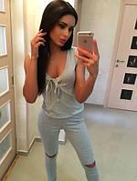 Комбинезон женский Летний брюками с оригинальными прорезями на коленях цвет мята