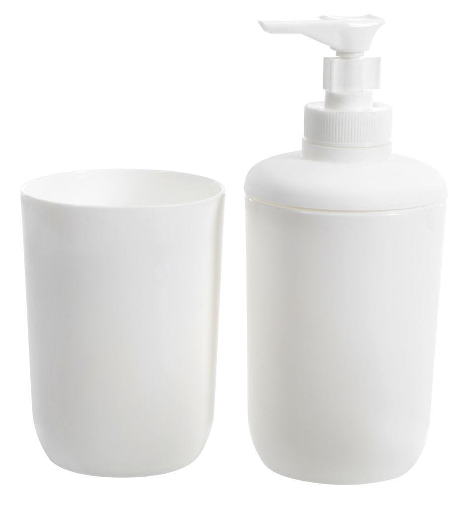Набор в ванную (стаканчик и дозатор для жидкого мыла) белые