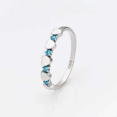 Серебряное кольцо сердца с голубыми камнями 34306