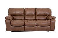 Комплект мягкой мебели Модель 8701 = диван + 2 реклайнера (2 цвета, кричневый, кремовый)