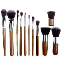 Набор из 11 кистей для макияжа с ручками из бамбука, в мешочке